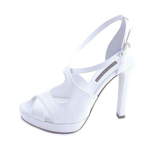 Scarpe Sposa Raso Bianco.Albano Sandali Donna Sposa Raso Bianco Con Fasce Intrecciate E