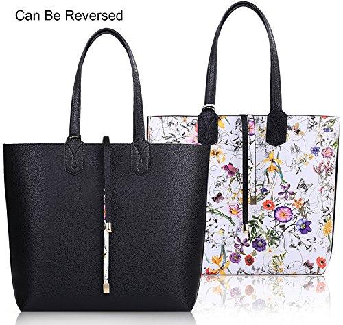 Tote Purse (Coofit Reversable Tote Bag Womens Purses and Handbags Shoulder Bag Black)