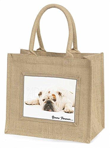 Advanta weiß bulldogyours Forever Große Einkaufstasche/Weihnachten Geschenk, Jute, beige/natur, 42x 34,5x 2cm