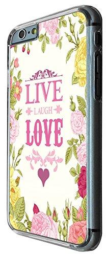 526 - Floral Shabby Chic Roses Live Love Laugh Design iphone 6 PLUS / iphone 6 PLUS S 5.5'' Coque Fashion Trend Case Coque Protection Cover plastique et métal