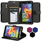Galaxy S5 Case, Abacus24-7 Wallet with Flip Cover and Stand, Black