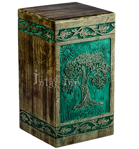 INTAJ Tree of Life Engraved Rosewood Cremation Urn for Human Ashes, Adult Large Wooden Keepsake Urn for Ashes, Handmade Funeral Urn, Wood Urn Box, Pet Urn for Dogs (Adult 250 Cu/in, Teal Green)