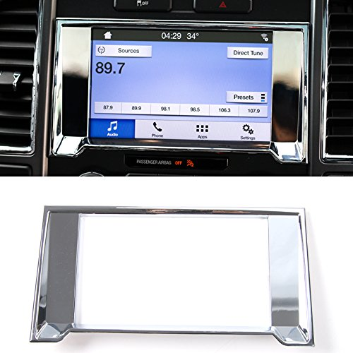 HIGH FLYING Interior Dashboard Navigation GPS Cover Decorative Trim ABS Chrome 1 Piece For Ford F-150 F150 2015 2016 (Abs Plastic Dash Cover)