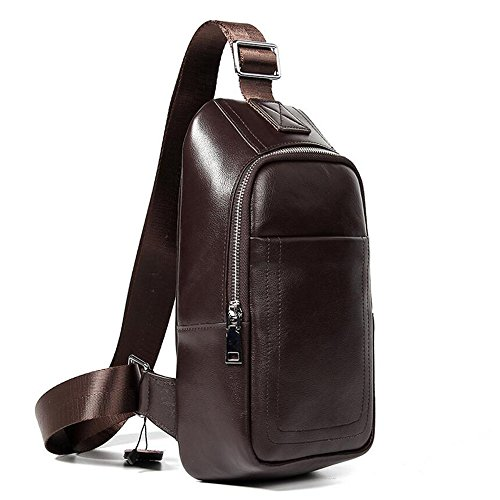 Full Chest Bag Shoulder Men's Bag Messenger Leather Trend Wenmw Business Leisure Coffee Sports PHw54nqc