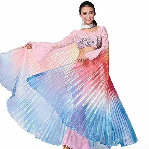 Pilot-trade Women's Belly Dance Costume Rainbow Isis Wings gradient colors (Rainbow Wings Costume)