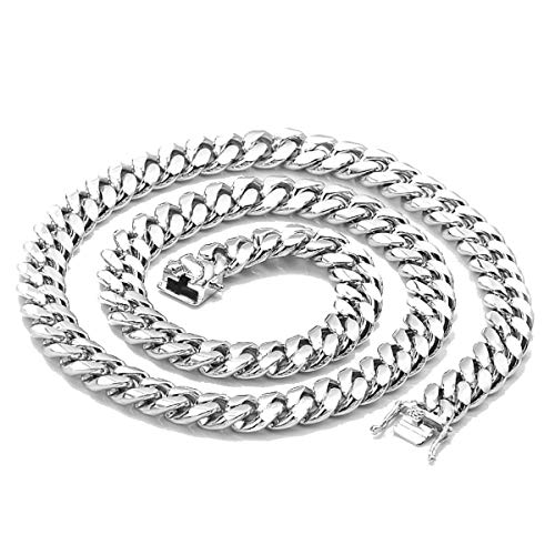Hollywood Jewelry Gold Chain Necklace 14MM 14K White Gold Diamond Cut Smooth for Men Hip Hop Miami Cuban Link with a Warranty USA Made! (22)