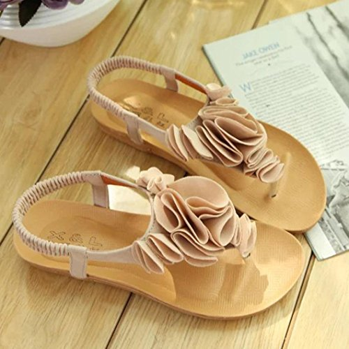 VEMOW Sandals for Women, Slippers Gladiator Wedge Tan Closed Toe Platform Sparkly High Low Heels Roman Flats Flip Flops Thongs, Flower Summer Bohemia Sweet Clip Toe Beach Shoes Beige