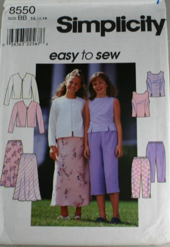 Simplicity 8550 Pattern Girls Top, Jacket, Skirt and Pants Size 12,14,16 Bias Cut Elastic Waist Skirt
