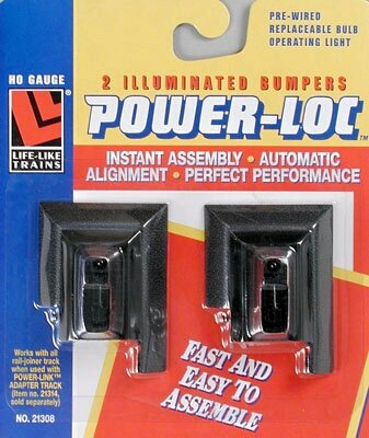 Life-Like Trains Power-Loc   HO Scale Track - Illuminated Bumper, Steel