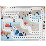 Kids Rug Area Play Mat Car Carpet - Road Buildings Parking Map Game Educational Toys Baby Gyms & Playmats Friendly Interactive Toy ( A)