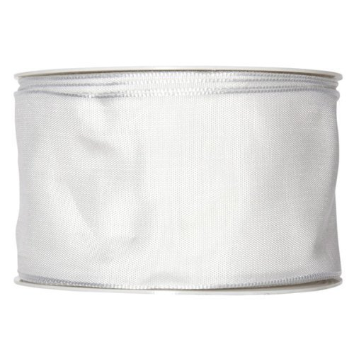 FloristryWarehouse Wedding white fabric ribbon 2.5 inches wide x 27 yards roll taffeta satin