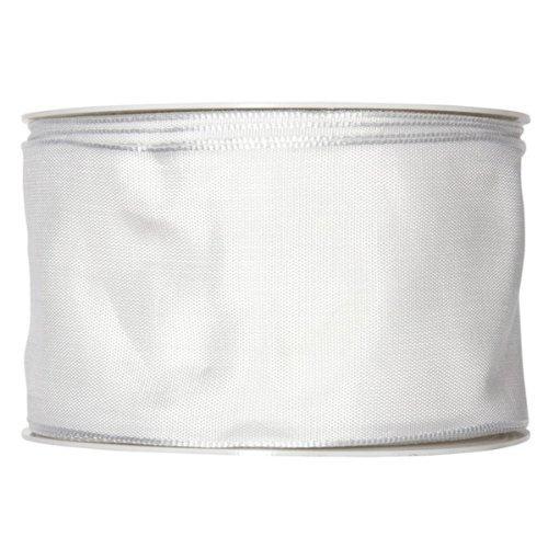 FloristryWarehouse Wedding white fabric ribbon 2.5 inches wide x 27 yards roll taffeta satin
