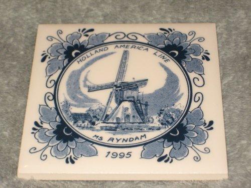 Vintage 1995 Delft Holland America Line Windmill Scene 4 x 4 Inch Porcelain Tile w/ Cork Back