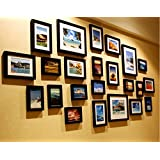 (Without Photo) 190cm x90cm Black Wooden Wall Hanging Art 23Pcs Picture Photo Frame Set with Installation Drawings and Accessories