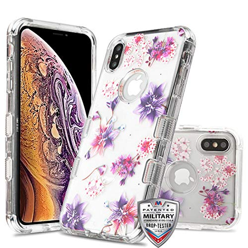 Case+Tempered_Glass+Stylus, TUFF Lucid Hybrid Protector Cover [Military-Grade Certified] Fits Apple iPhone Xs Max/XS Plus MYBAT Transparent Clear/Stargazers Purple/Pink Flowers