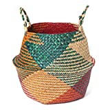 Lucaswang Natural Seagrass Basket,Woven Foldable Plant Flower Pot Handmade Belly Basket with Handle for Storage, Laundry, Picnic, Plant Pot Cover, and Beach Bag