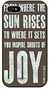 From where the sun rises to where it sets, you inspire shouts of joy - Psalms 65:8 - Grunge blue - Bible verse iPhone 4 / 4s black plastic case / Christian Verses