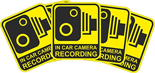 INDIGOS UG Sticker/Bumper - yellow - Warnung Safety - Camera Dash Cam Recording Car - 115x99 mm - 5 pieces - JDM/Die cut - Security Signs -CCTV, Car, Van, Truck, Taxi,Mini Cab, Bus, Coach