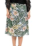 Chicwe Women's Plus Size Lined Floral Printed Long Flared Skirt - Casual and Work Skirt 18