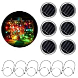 [6 Pack]MTZRFLL Solar Powered Mason Jar Lids Lights,20 LEDs Fairy Portable Lanterns,6 Stainless Steel Hangers(Jars NOT Included),for Patio,Garden,Christmas,Wedding (Multi-Colored): more info
