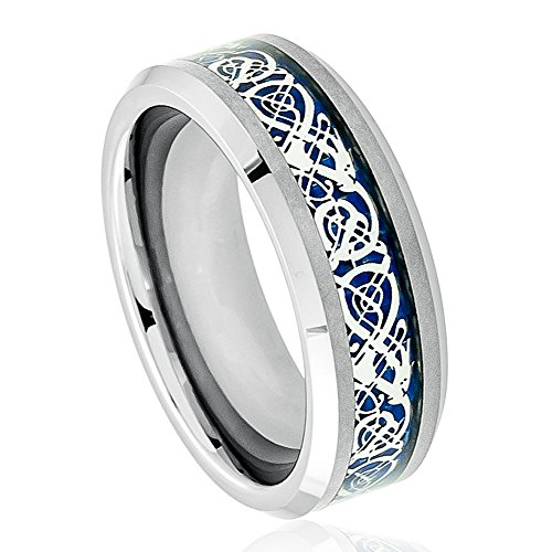 8mm - Tungsten Carbide Wedding Band Ring for Him or Her Celtic Knot Dragon over Blue Carbon Fiber Inlay (Blue Dragon Wedding Rings)