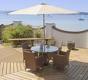 Port Royal Classic–Mesa y 4sillas (, marrón, de ratán con parasol