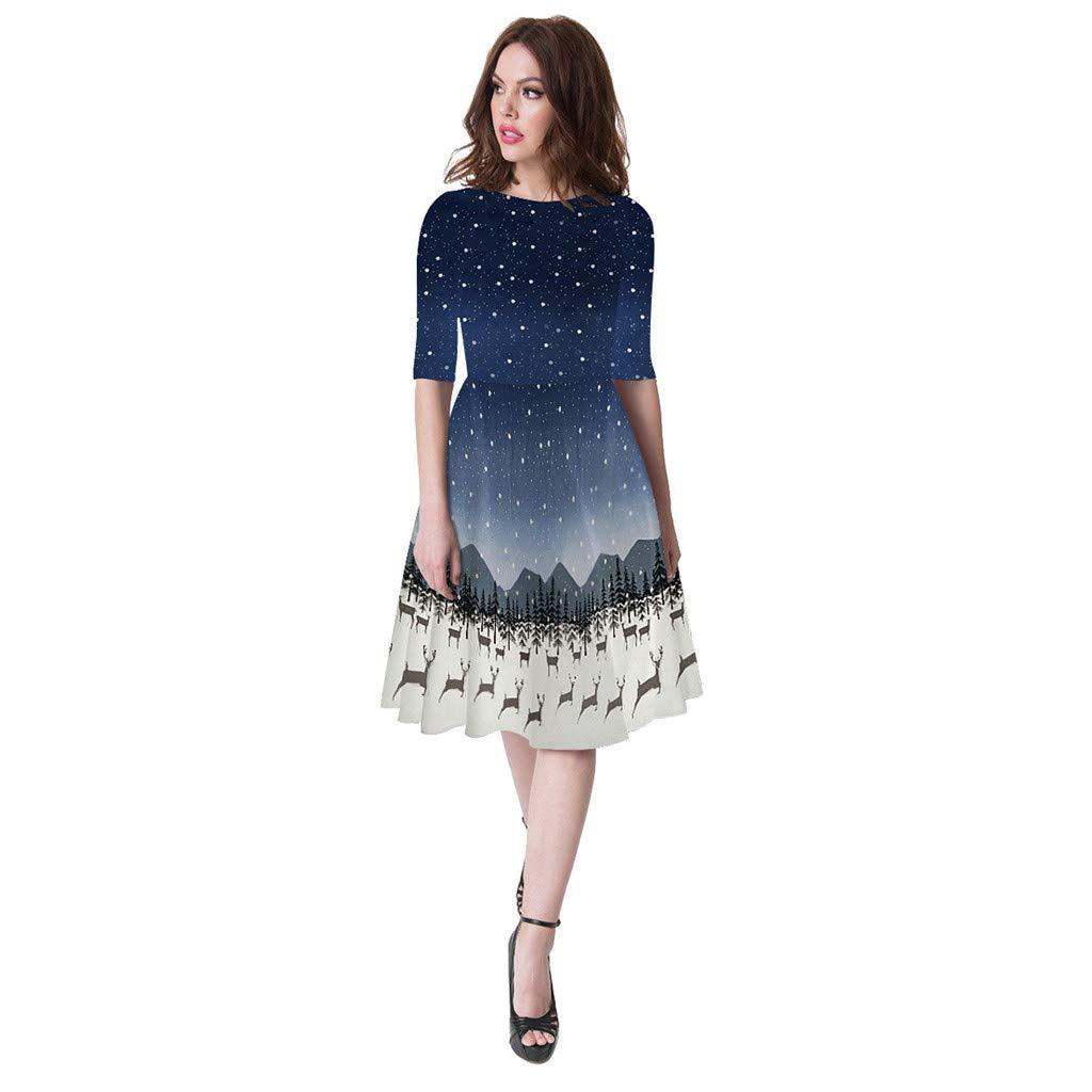 Alwayswin Frauen Kinder M/ädchen Langarm Weihnachten Kleid Mode Mom Me 3D Print Party Kleider Prinzessin Xmas Kleid Elegant O-Ausschnitt Vintage Petticoat Kleider 50er Rockabilly Kleider