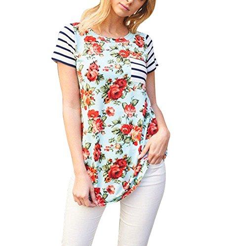 Floral Design Short Sleeve Top - 3