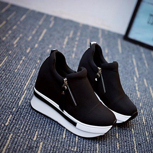 Black Compensées Femmes La Décontractée Mode Slip Chaussures À Bottes Yogogo Sur Semelles Cheville 17UEnEx