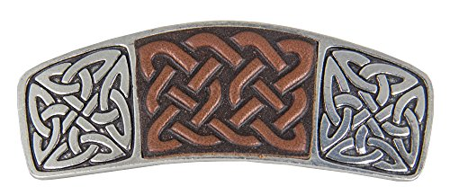 Celtic Knot Hair Clip - Hand Crafted Metal and Leather Barrette Made in the USA with imported French Clips By Oberon Design by Oberon Design
