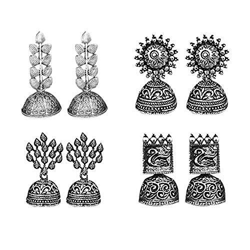 JewelMaze Traditional Jhumki Earrings Combo For Women and Girls – Set of 4