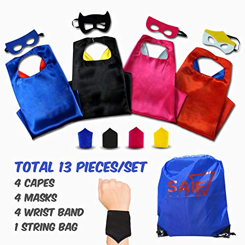 Superhero Capes for kids - 4 Characters Costume Set Pretend Play for Boys and Girls Includes Capes, Masks, Wristbands and Carry Bag for Make Believe Dress-Up Builds Self-Confidence and Teamwork]()