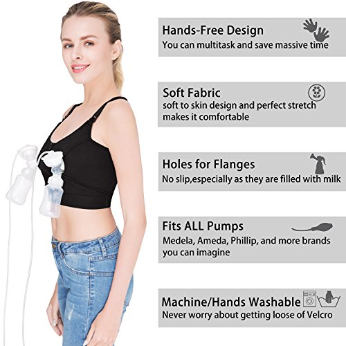 d887ba53c6241 Amazon.com : Hands Free Pumping Bra, Breastfeeding Bra, Wire-Free, Plus Size,  with Or Without Strap of Breast Pumping Bra, Suitable for Breast Pumps by  ...