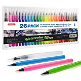 Shuttle Art 26 Pack Real Watercolor Brush Pens, 25 Colors Watercolor Brush Markers with 1 Water Brush Pen,Soft Flexible Tip Perfect for Adult Coloring Books, Manga, Comic, Calligraphy