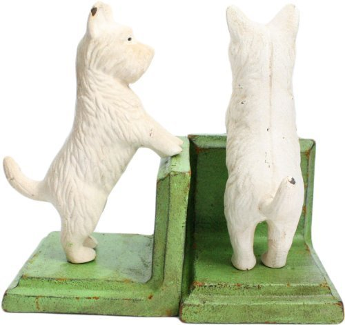 HomArt Set of 2 Cast Iron Standing Westie Bookends, White/Green by HomArt