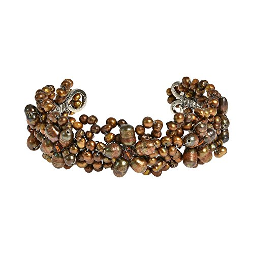 AeraVida Refined Cultured Freshwater Bronze Pearl Flower Embellishment Cuff Bracelet