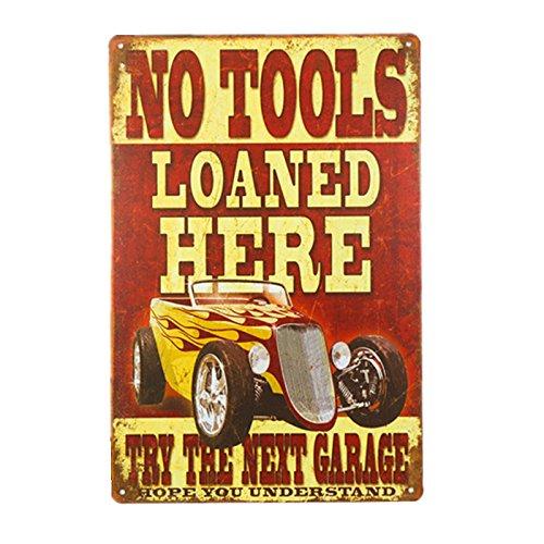 No Tools Loaned - dingleiever DL-No Tools Loaned Here Novelty Metal Sign Bar Pub Garage Diner Cafe Home Wall Decor