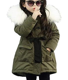 69daff9ad8fb1 LeeHaru Magike Doudoune Enfant Fille Hiver avec Capuche Fourrure Longue  Manteau vêtement Fille Chaud Epais
