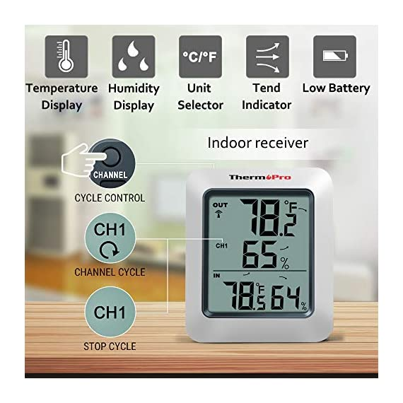 ThermoPro TP-60S Digital Hygrometer Indoor Outdoor Thermometer Humidity Monitor, with Temperature Gauge Meter, Wireless, 200ft/60m Range, Thermometer & Hygrometer 4 Buy without risk! - Thermopro TP60S digital indoor outdoor hygrometer displays temp and humidity for both inside and outside simultaneously【1 YEAR WARRANTY! REGISTER your product after purchase and RECEIVE EXTENDED 3 YEARS Warranty】. Wireless humidity meter thermometer measures indoor outdoor temperatures and humidity percentages, can display the readings from up to 3 outdoor remote sensors 【additional 2 sensor (ASIN B072BY1M2V) can be ordered】to monitor different locations. Temperatures display in °F or °C All time/24 hours MAX & MIN humidity temperature and humidity percentages records. Temperature trend arrows indicate whether it's getting warmer or colder near remote sensor.