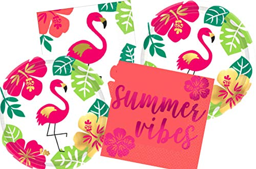 Tropical Luau Party Supply Pack: Bundle Includes Paper Dessert Plates & Napkins for 16 People in a Gold Metallic, Summer Vibes, Flamingo Aloha Design