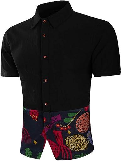 Polo para Hombre Blusa Camiseta de Lino y algodón Flor de ...