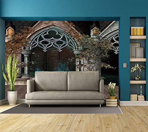 Funky Wall Mural Sticker [ Gothic,Mystical Patio with Enchanted Wishing Well Ivy on Antique Gateway to Magical Forest,Grey Teal ] Self-Adhesive Vinyl Wallpaper/Removable Modern Decorating Wall -