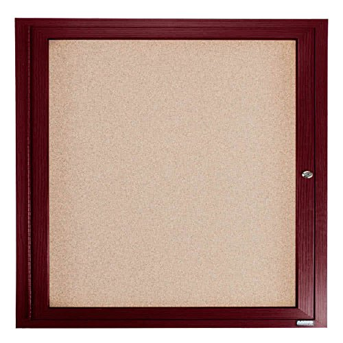 TableTop King CBC3636R 36'' x 36'' Enclosed Indoor Hinged Locking 1 Door Bulletin Board with Cherry Frame by TableTop King