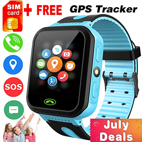 Kids Smart Watch -[SIM Card Include] Smart Phone Watch for 3-12 Year Old Boys Girls with GPS Locator 1.5'' HD Touch Screen Fitness Tracker SOS Camera Game Flashlight Alarm Clock Holiday Birthday Gift