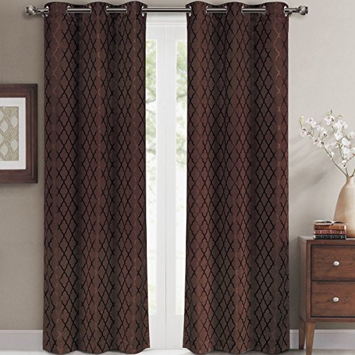 Royal Panel Chocolate - Willow Jacquard Chocolate Grommet Blackout Window Curtain Panels, Pair / Set of 2 Panels, 42x120 inches Each, by Royal Hotel