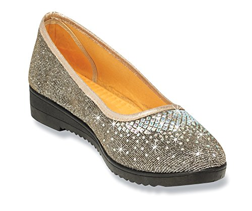 The Paragon Silvery Dress Loafers - Comfy, Non-Slip Shoes 6 B(M) US (Soles 100 Gold Gem)