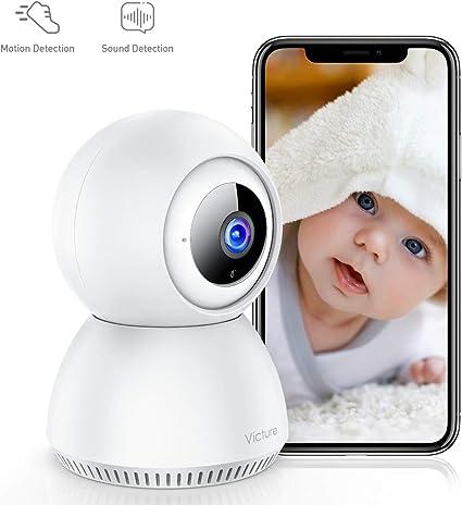 Victure 1080P Baby Monitor mit Klangdetektion, FHD Kamera, WLAN, innen, kabellos, mit Nachtsicht, Bewegungserkennung, bidirektionales Audio für Baby