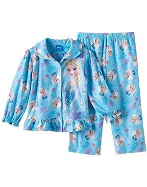 Little Girls' Frozen Sisters Olaf Sparkle Snowflakes Pajama Coat Set