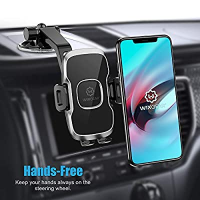 Phone Holder for Car, WixGear Universal Dashboard Curved Phone Car Suction Cup Mount Holder for Cell Phone 360 Degree Rotation Compatible with iPhone Xs/XS Max / 8/7 / 6, Galaxy S and More
