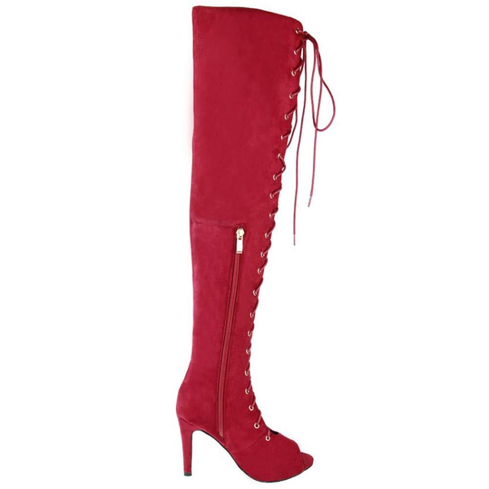 Kolnoo Damen High Heel Heel Heel Stiefel Cross Lace-up Open-Toe Mode Kniestiefel Lange Stiefelies e915e0